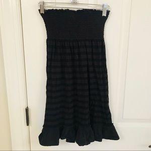 Black bandeau dress elastic striped cover up